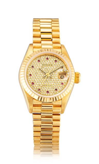 View 1. Thumbnail of Lot 8135. ROLEX   DATEJUST, REFERENCE 69178   A YELLOW GOLD, DIAMOND AND RUBY-SET WRISTWATCH WITH DATE AND BRACELET, CIRCA 1987   勞力士   Datejust 型號69178   黃金鑲鑽石及紅寶石鏈帶腕錶,備日期顯示,約1987年製.