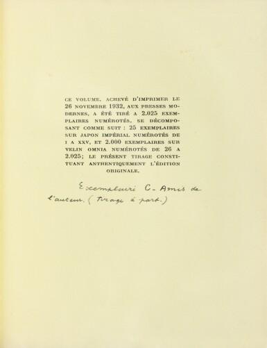"""View 3. Thumbnail of Lot 221. Les Vases communicants. 1932. Envoi de Breton à Char. """"Tirage à part pour les amis"""" sur papier jaune."""