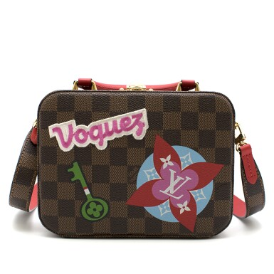 View 3. Thumbnail of Lot 160. Stories Box Damier Ebène Colour coated canvas and red cowhide leather trim with sequin, velour & embroidered patches. Louis Vuitton. Cruise Collection 2018..