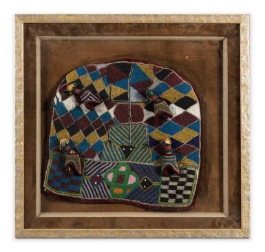 View 1. Thumbnail of Lot 226. Tissu de velours brodé de perles, Bamileke, Cameroun | Velvet piece of fabric embroidered with pearls, Bamileke, Cameroon.