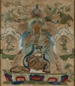 Petit tangka représentant Padmasambhava Dynastie Qing, XVIIIE siècle | 清十八世紀 刺繡蓮花生大士唐卡 | A small embroidered silk thangka depicting Padmasambhava, Qing Dynasty, 18th century