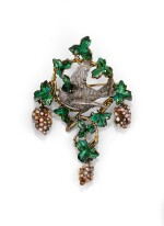 BROCHE PERLES DE SEMENCE ET ÉMAIL, ATTRIBUÉE À FROMENT-MEURICE | SEED PEARL AND ENAMEL BROOCH, ATTRIBUTED TO FROMENT-MEURICE