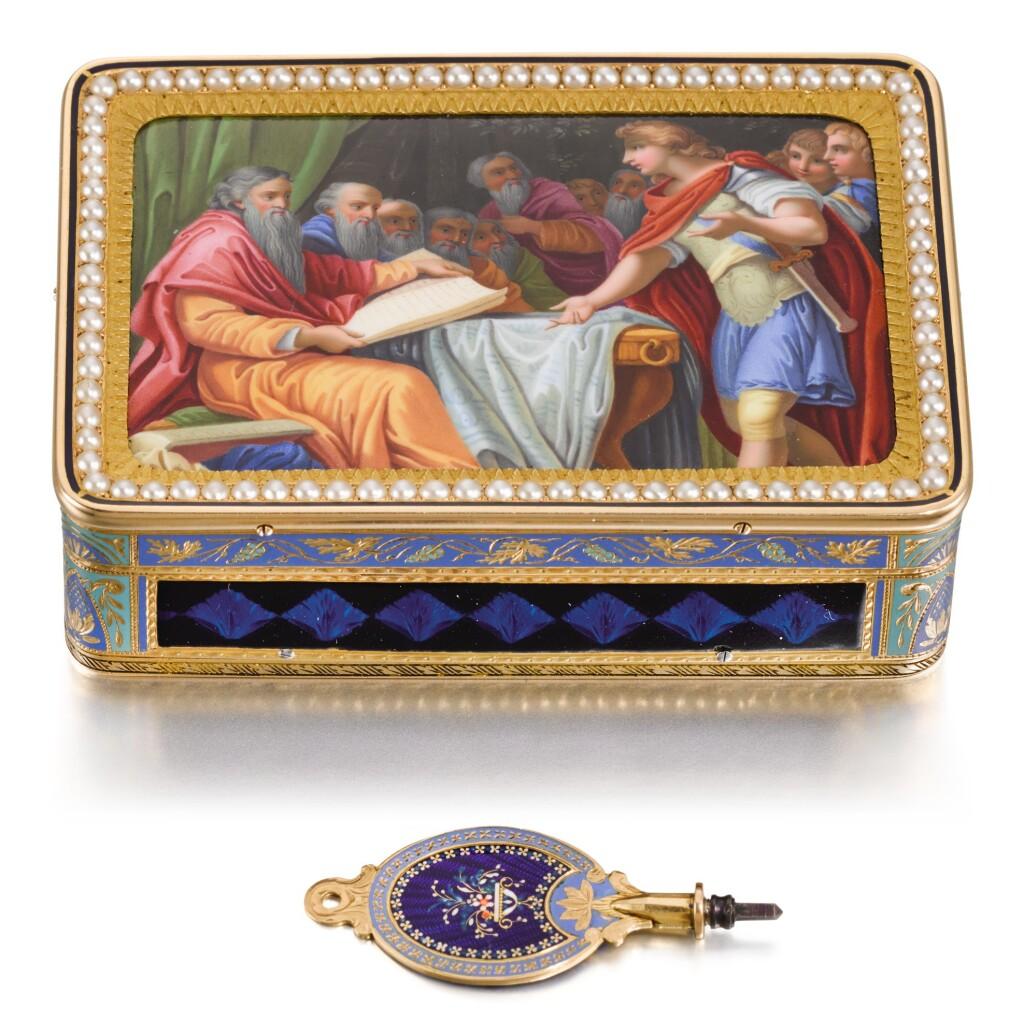 A GOLD, ENAMEL AND PEARL MUSICAL SNUFF BOX, RÉMOND, LAMY, MERCIER & CO., GENEVA, 1815-1820, THE MOVEMENT ATTIRBUTED TO PIGUET & MEYLAN,