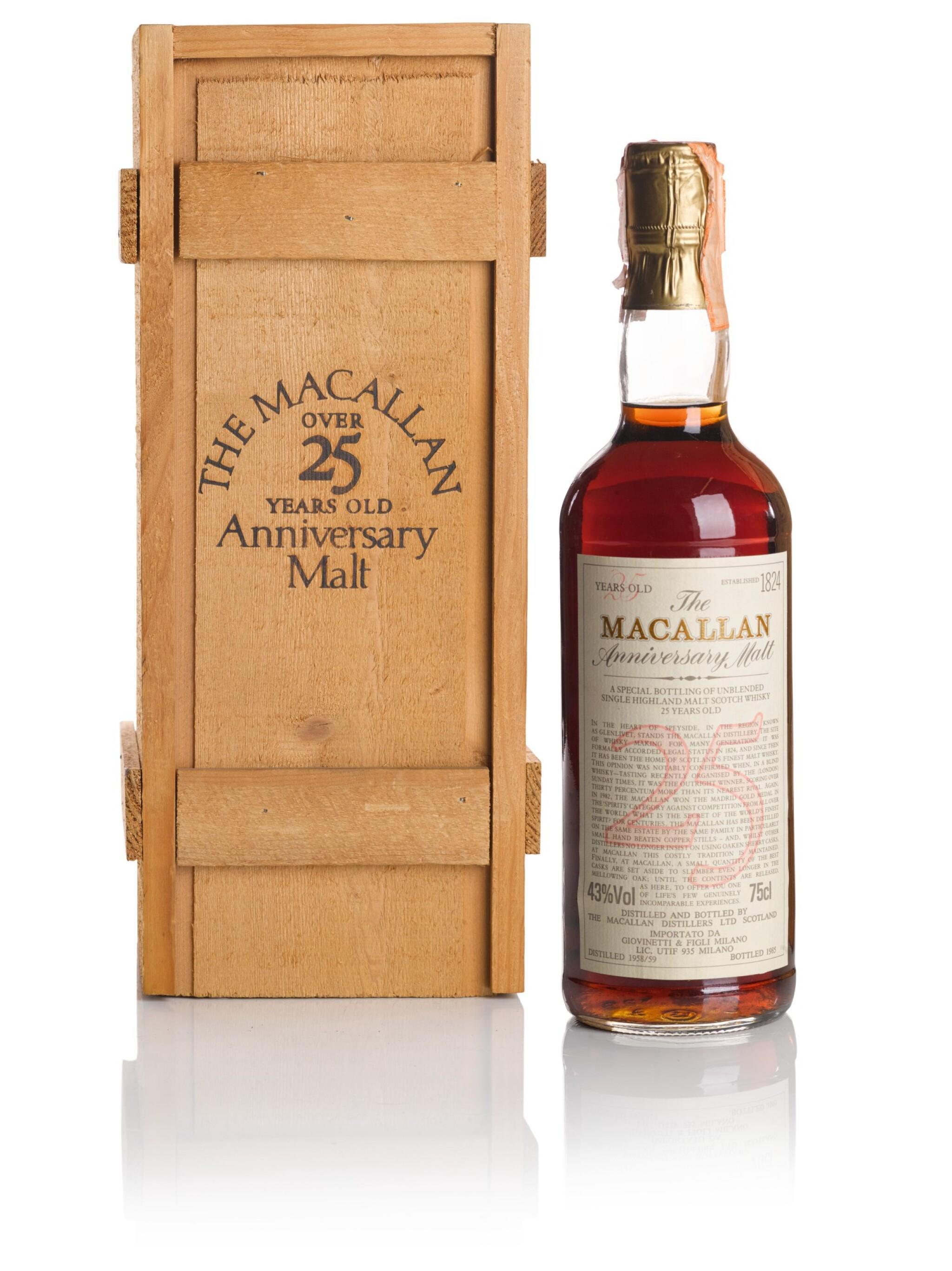 THE MACALLAN 25 YEAR OLD ANNIVERSARY MALT 43.0 ABV 1959