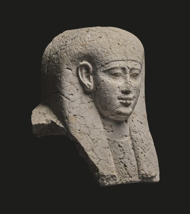View 2. Thumbnail of Lot 59. AN EGYPTIAN LIMESTONE SARCOPHAGUS MASK, 30TH DYNASTY/EARLY PTOLEMAIC PERIOD, CIRCA 250-200 B.C..