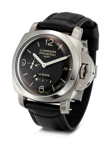 View 2. Thumbnail of Lot 355. PANERAI   LUMINOR, REFERENCE 270 A STAINLESS STEEL DUAL TIME ZONE WRISTWATCH WITH DATE, DAY AND NIGHT AND POWER RESERVE INDICATION, CIRCA 2008.