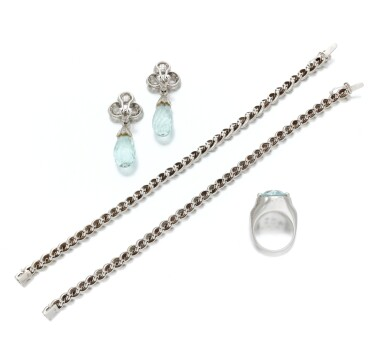 View 3. Thumbnail of Lot 135. Pair of diamond bracelets and aquamarine and diamond demi-parure (Coppia di bracciali in diamanti e demi-parure con acquamarine e diamanti).
