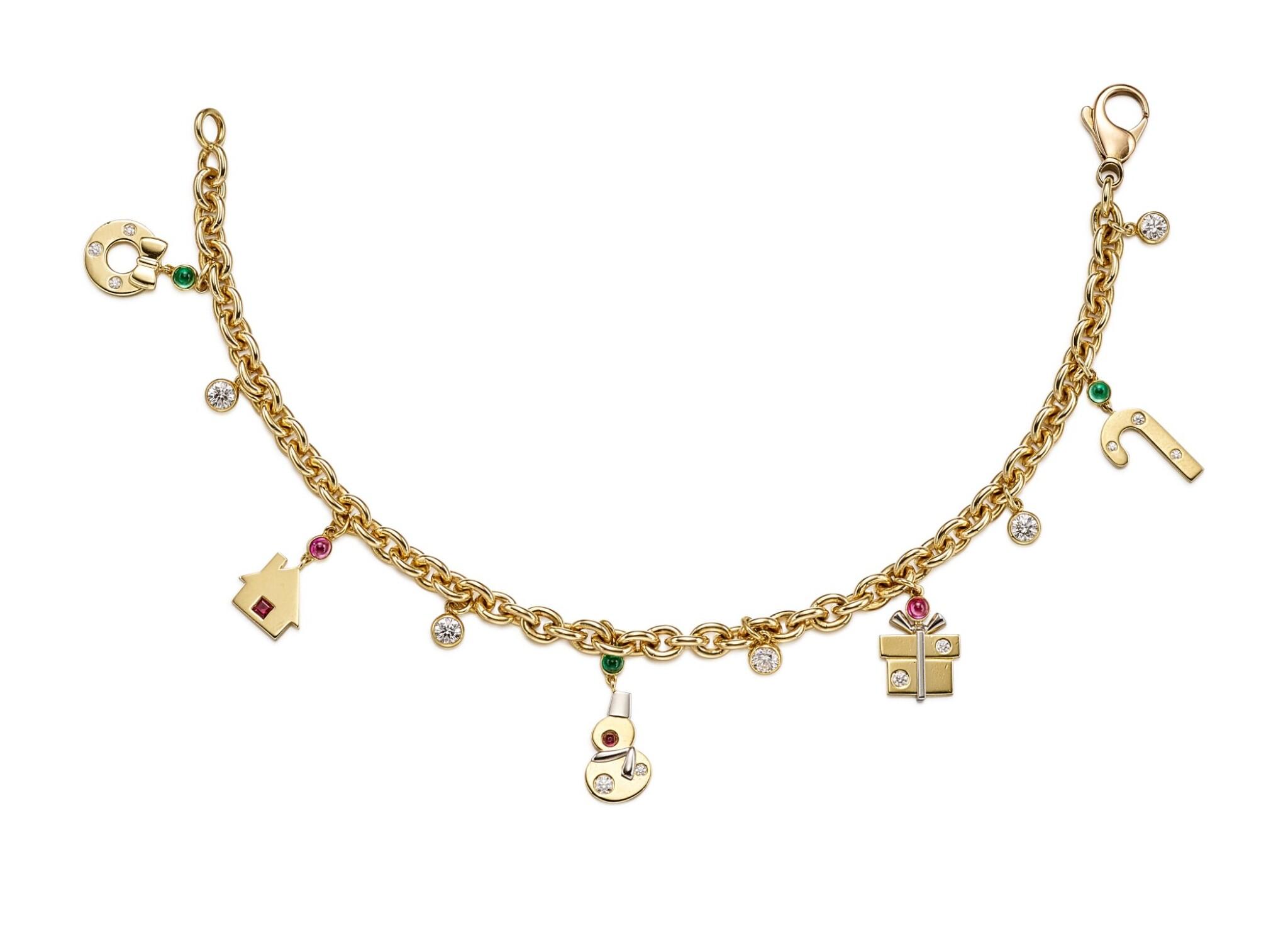 View full screen - View 1 of Lot 1433. GIMEL   GOLD, GEM SET AND DIAMOND CHARM BRACELET   Gimel   18K黃金 配 寶石 及 鑽石 手鏈.