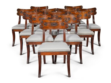 View 1. Thumbnail of Lot 158. A set of twelve Regency mahogany and ebony 'Klismos' dining chairs, circa 1815, after a design by Thomas Hope.