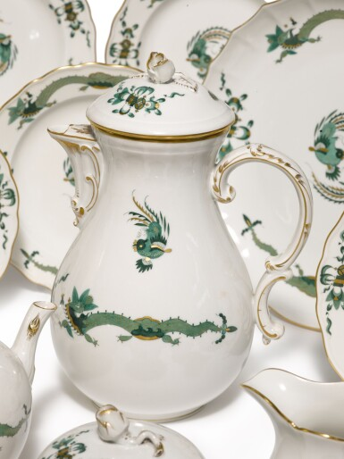 View 2. Thumbnail of Lot 123. A Meissen 'Green-Dragon' Pattern Tea and Coffee Service, 20th Century.