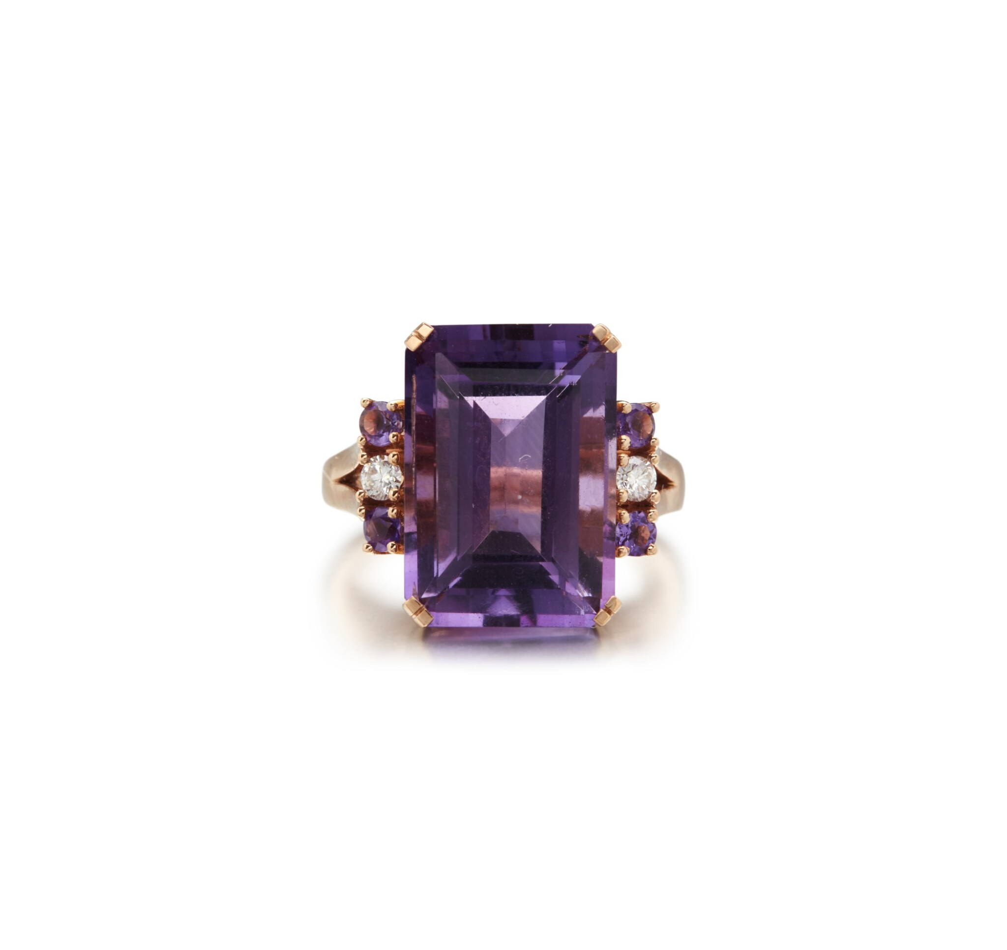 View full screen - View 1 of Lot 10. AMETHYST AND DIAMOND RING.