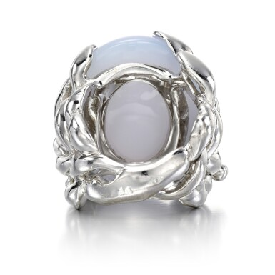 View 3. Thumbnail of Lot 143. Chalcedony and diamond ring, 'Gourmande Libellule'.