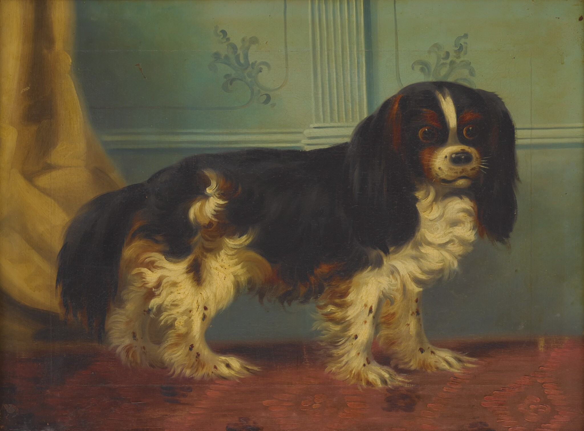 View full screen - View 1 of Lot 70. ENGLISH SCHOOL, 19TH CENTURY   SPANIEL IN AN INTERIOR.