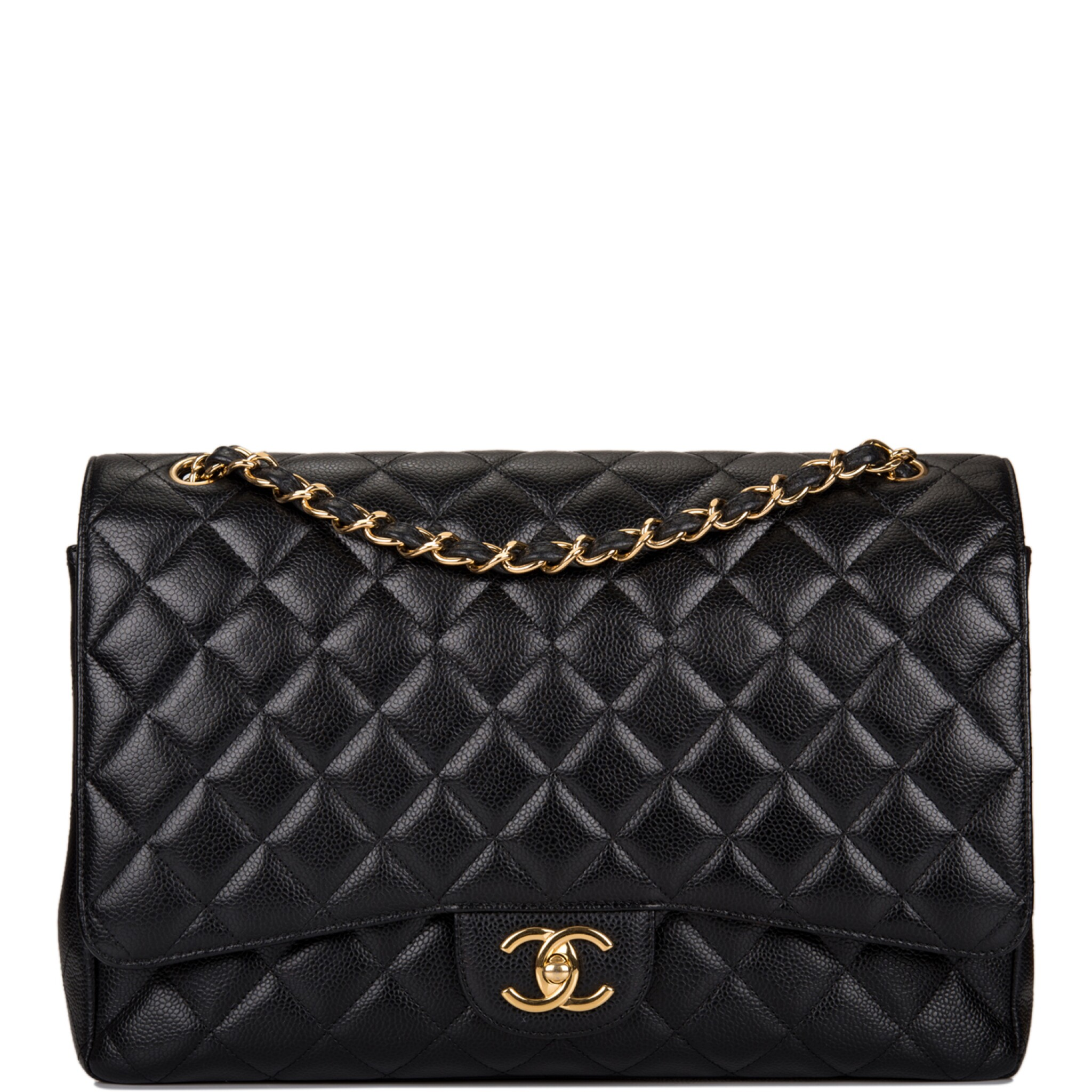 View full screen - View 1 of Lot 60. Chanel Quilted Maxi Classic Double Flap Bag of Black Caviar Leather with Gold Hardware.
