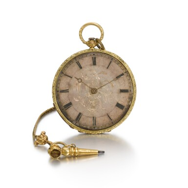 View 3. Thumbnail of Lot 291. AMI SANDOZ ET FILS | A LADY'S SLIM GOLD AND ENAMEL BAGNOLET WATCH, CIRCA 1850.
