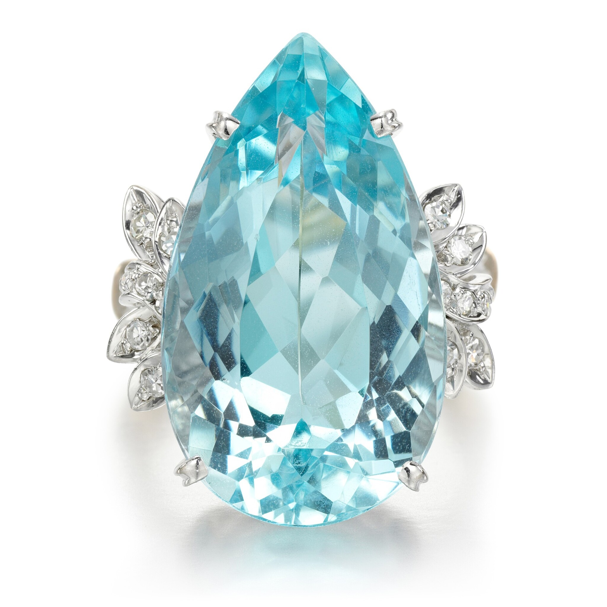 View full screen - View 1 of Lot 56. Aquamarine and diamond ring.