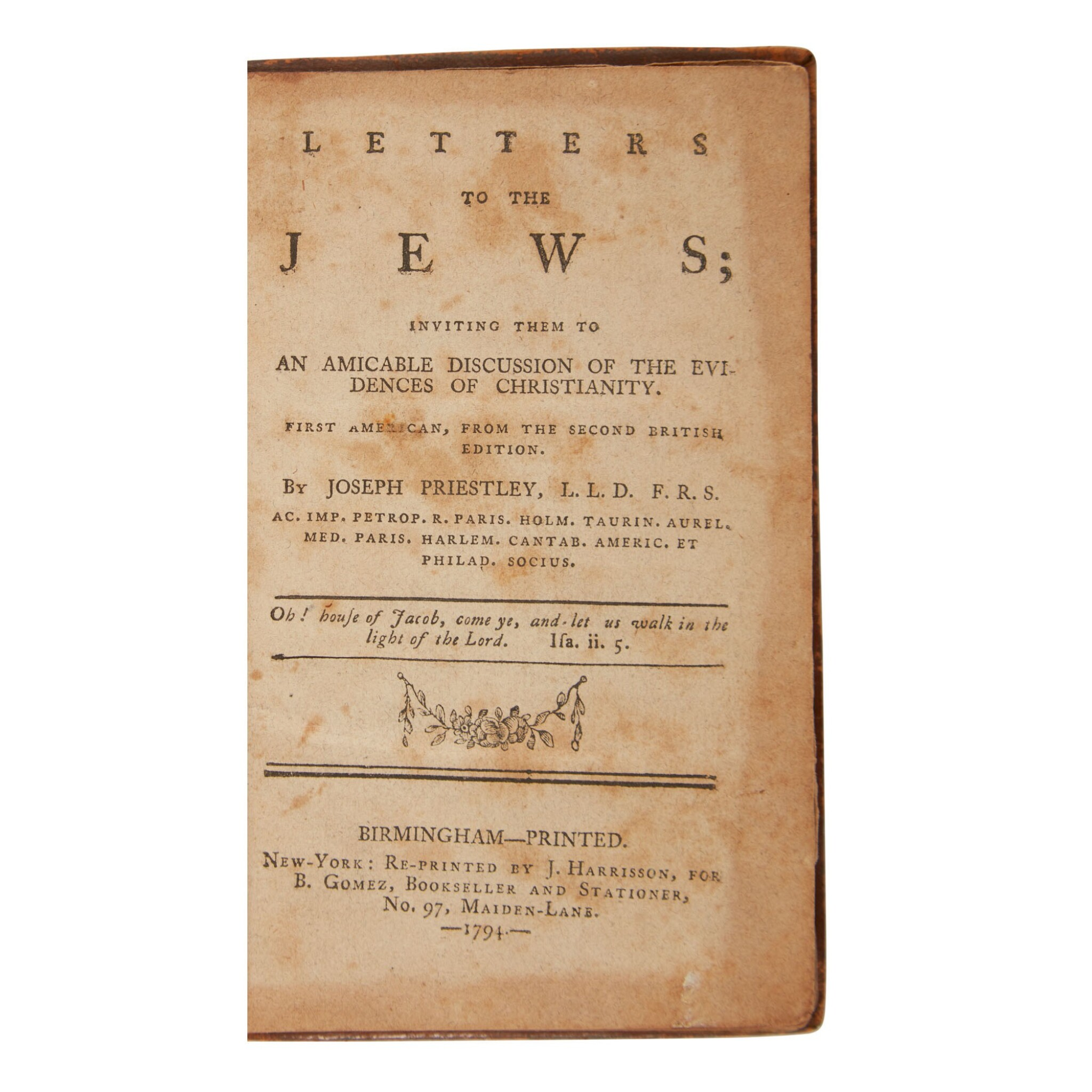 View full screen - View 1 of Lot 389. Priestley, Joseph, & David Levi   Produced by the first Jewish publisher in America.