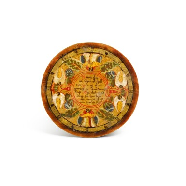 View 6. Thumbnail of Lot 1. A set of twelve Elizabethan polychrome decorated sycamore roundels, late 16th/early 17th century.