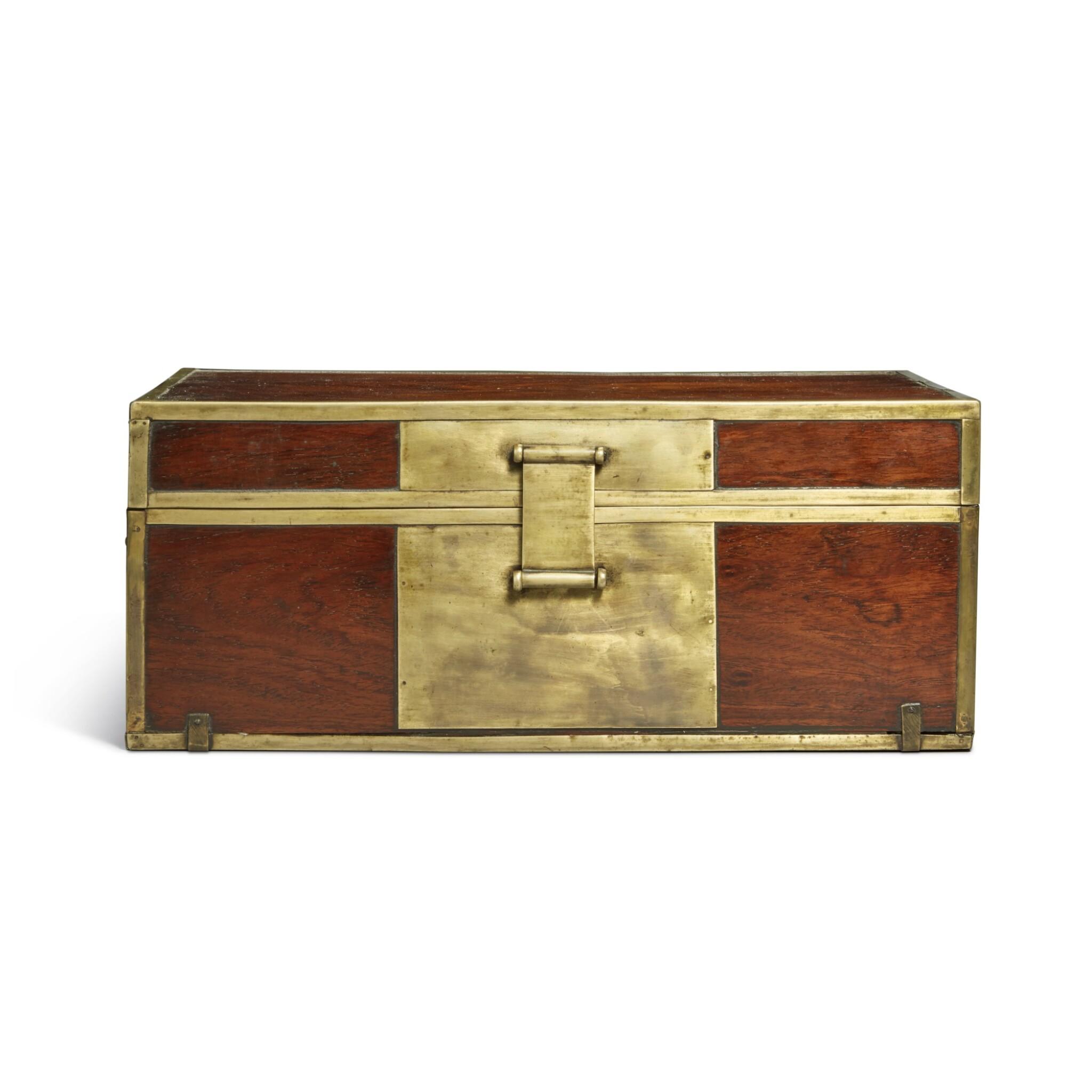 View full screen - View 1 of Lot 115. A 'huanghuali' document box (Xiaoxiang), Qing dynasty, 18th / 19th century | 清十八 / 十九世紀 黃花梨長方形小箱.