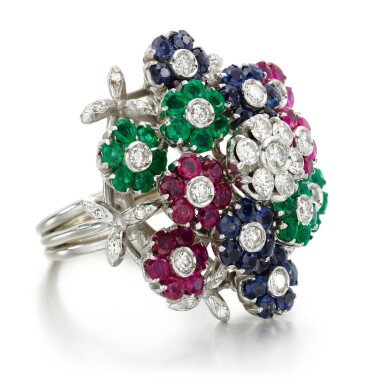 View 2. Thumbnail of Lot 48. Nardi, attributed to | Gem-set and diamond ring, 1960s.
