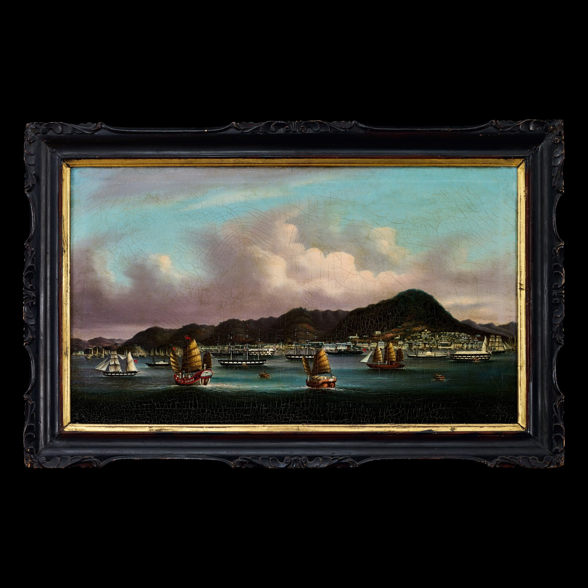 View full screen - View 1 of Lot 188. Youqua (fl. 1840-1880), circa 1850 View of Hong Kong from the Victoria Harbour | 煜呱(活躍於1840-1880年) 約1850年    香港維多利亞海港圖 布本油畫 木框.