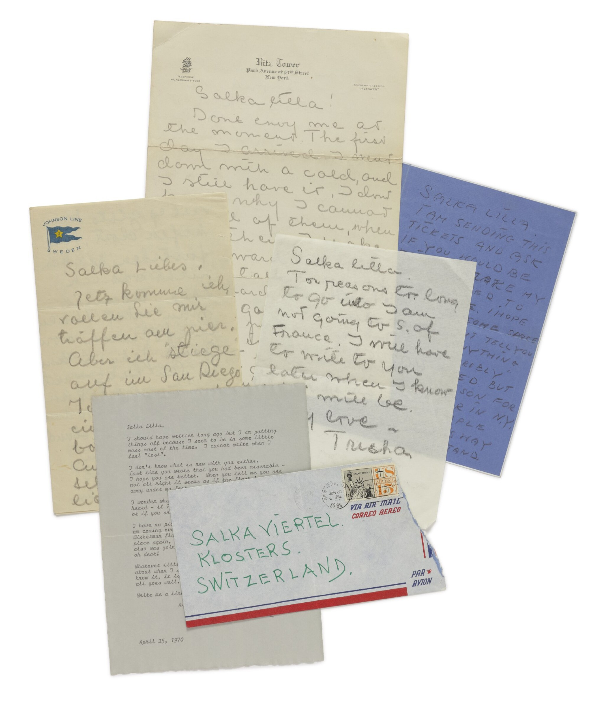 View full screen - View 1 of Lot 144. GARBO, GRETA   An important collection of letters to Salka Viertel.