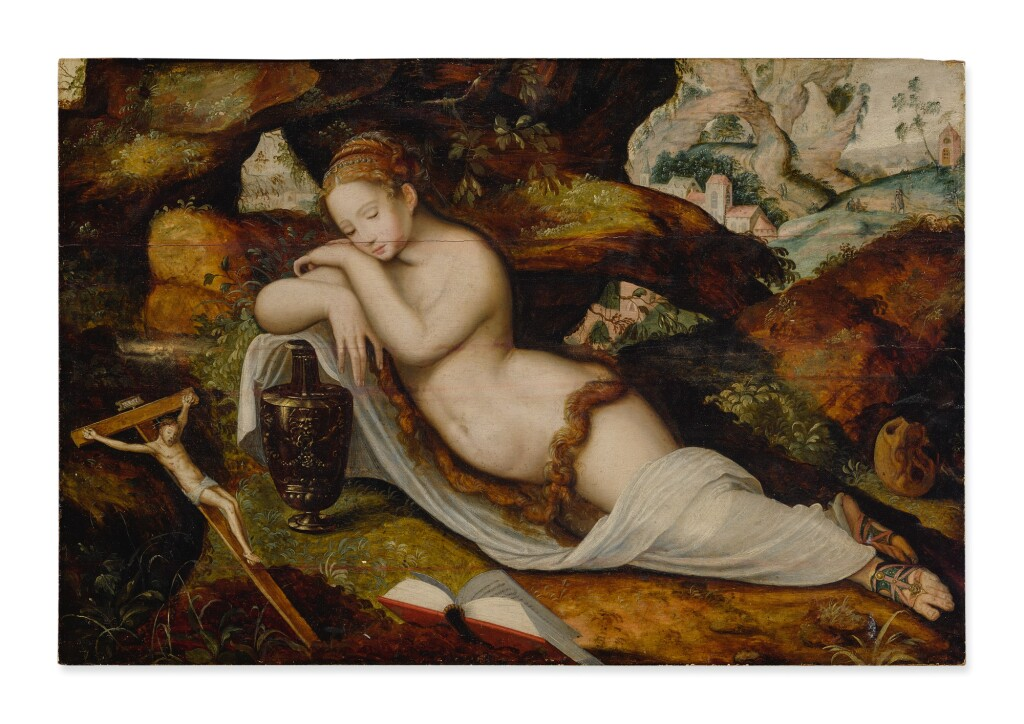 MASTER OF THE PRODIGAL SON   MARY MAGDALENE SLEEPING IN A GROTTO, A HILLY LANDSCAPE BEYOND