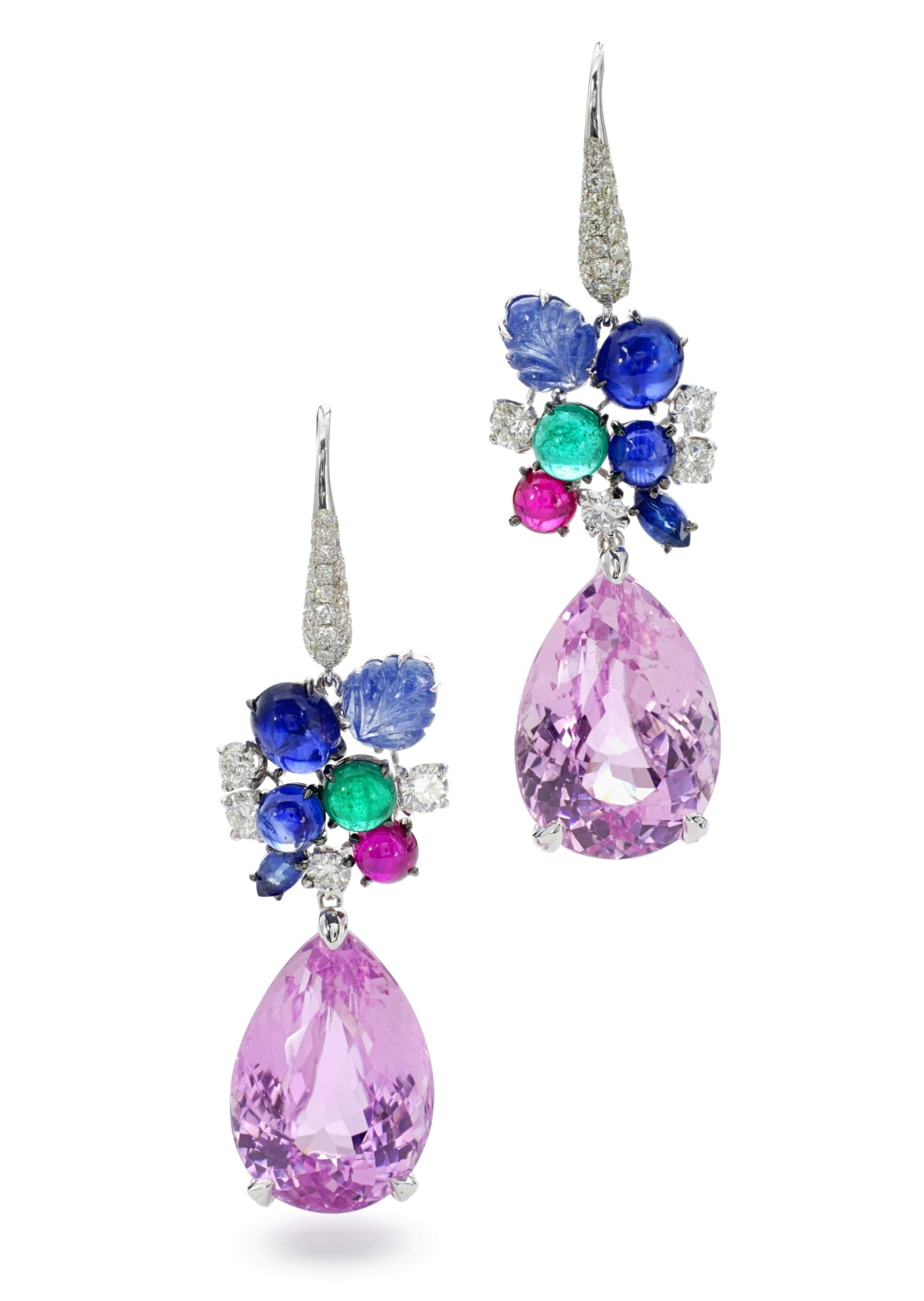 View full screen - View 1 of Lot 24. MICHELE DELLA VALLE   PAIR OF GEM SET AND DIAMOND PENDENT EARRINGS.