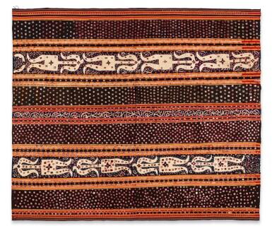 View 1. Thumbnail of Lot 20. Vêtement de femme tapis, Lampung, Sumatra, Indonésie, début du 20e siècle   Woman's wrapper tapis, Lampung, Sumatra, Indonesia, early 20th century.