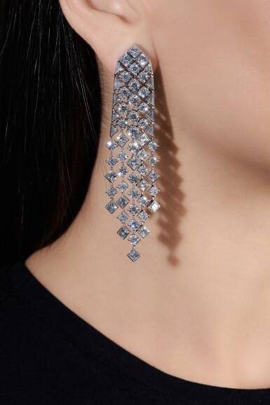 View 4. Thumbnail of Lot 638. Graff | Pair of diamond pendent earrings, 'Snowfall' | 格拉夫 | 鑽石「Snowfall」耳墜一對.