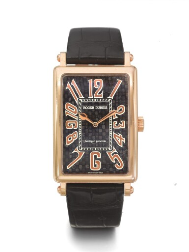 ROGER DUBUIS | MUCH MORE A LIMITED EDITION PINK GOLD RECTANGULAR WRISTWATCH CIRCA 2005