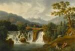 A capriccio view of the Canneto river valley at Cava de' Tirreni near Vietri with figures crossing a bridge over waterfalls