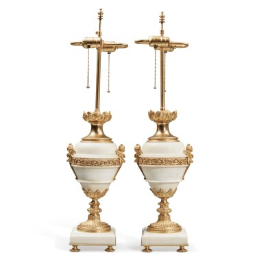 View 4. Thumbnail of Lot 128. A Pair of Gilt Bronze and Gilt Metal-Mounted White Marble Lamps.