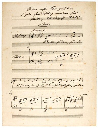 """View 1. Thumbnail of Lot 40. M. Bruch. Autograph manuscript of the song """"Für die Eltern"""", his earliest composition, written out in 1920."""