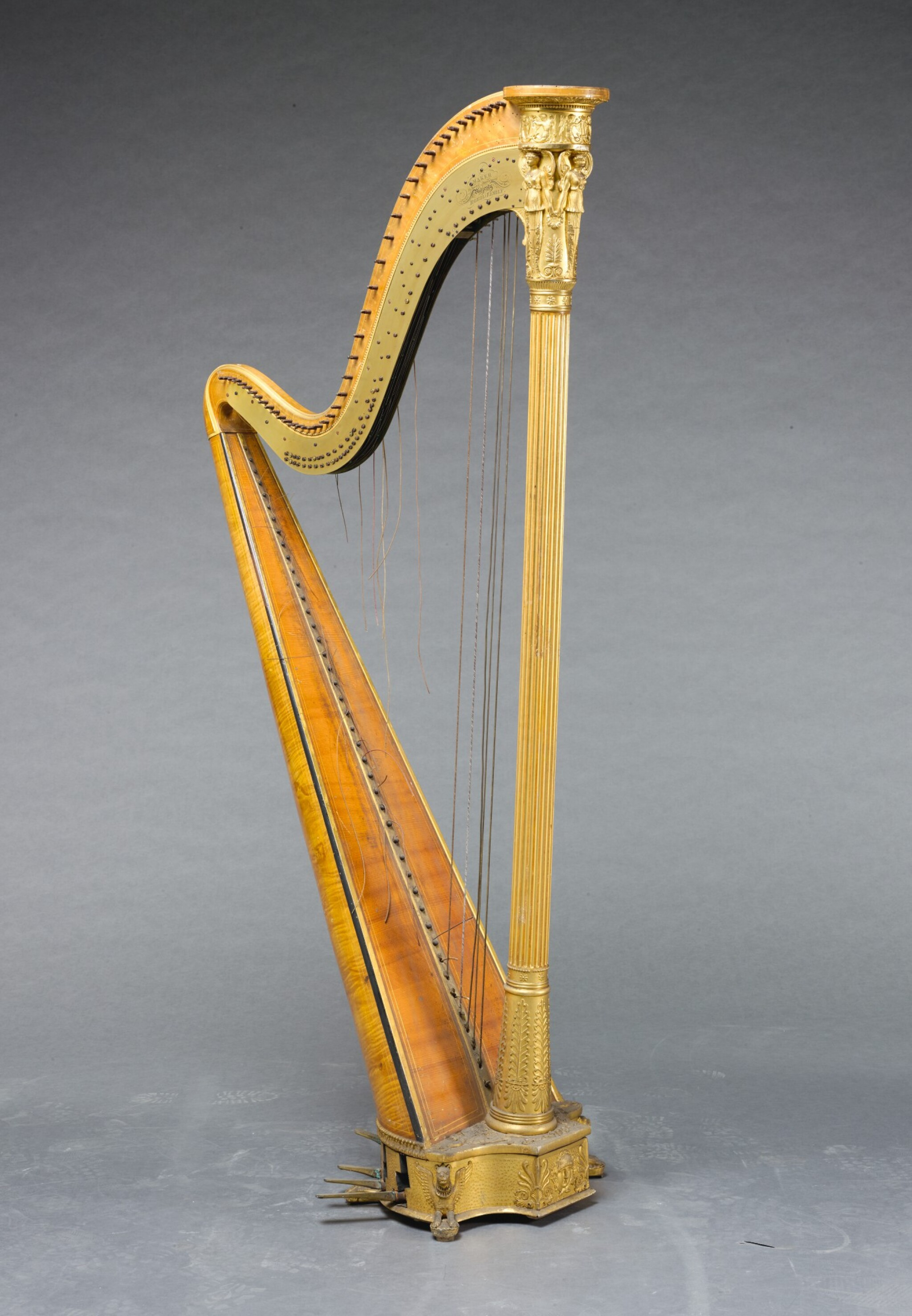 View full screen - View 1 of Lot 239. A GEORGE IV GILTWOOD AND SATINBIRCH DOUBLE-ACTION PEDAL HARP BY SEBASTIAN ERARD, LONDON, NOVEMBER 1821.