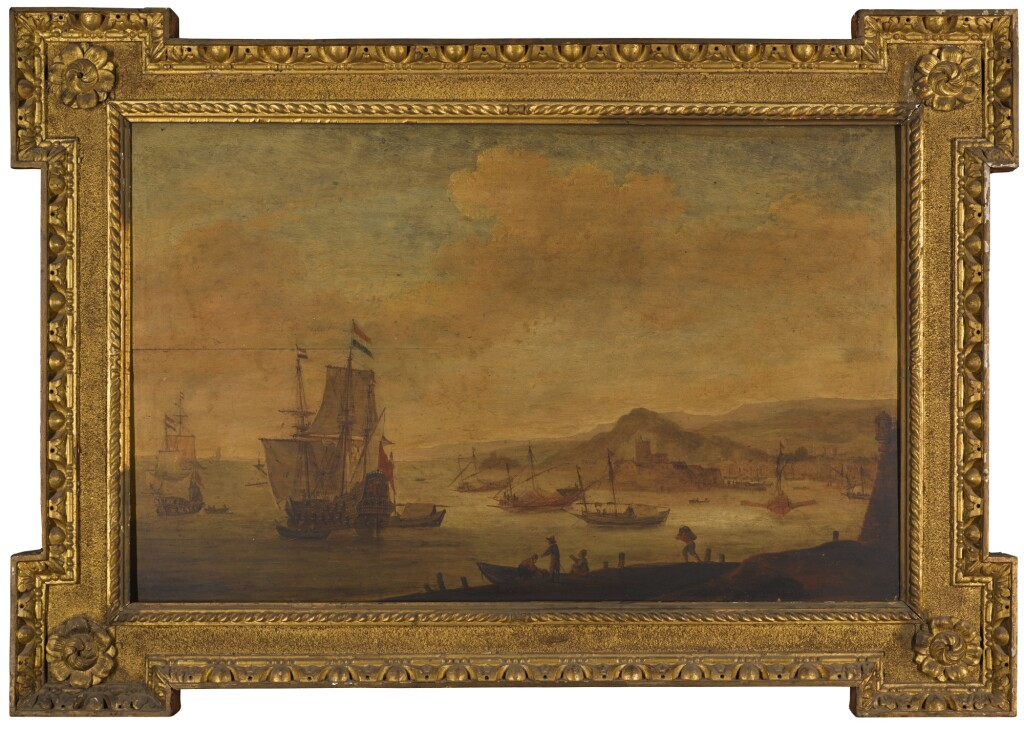 FOLLOWER OF WILLEM VAN DIEST | Shipping off the port of Algiers, with a man-of-war