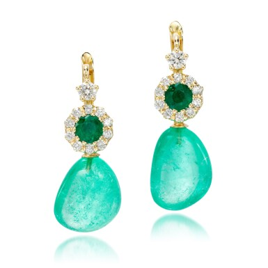 View 1. Thumbnail of Lot 19. Pair of emerald and diamond earrings.