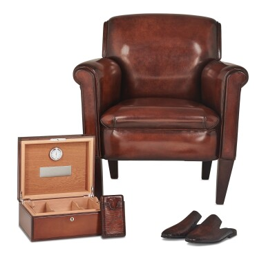 View 1. Thumbnail of Lot 3. Berluti   Cigar Box, Cigar Case, Club Chairs and Cyrus Slippers (Boîte à Cigares, Étui à Cigares, Fauteuils Club et Slipper Cyrus ) [5 Items / Articles].