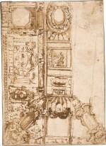 PIETRO BUONACCORSI, CALLED PERINO DEL VAGA | DESIGN FOR AN ELABORATE CEILING DECORATION