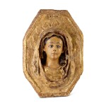 AN ITALIAN (?) POLYCHROME RELIEF , PERHAPS OF THE VERONICA VEIL, 17TH CENTURY