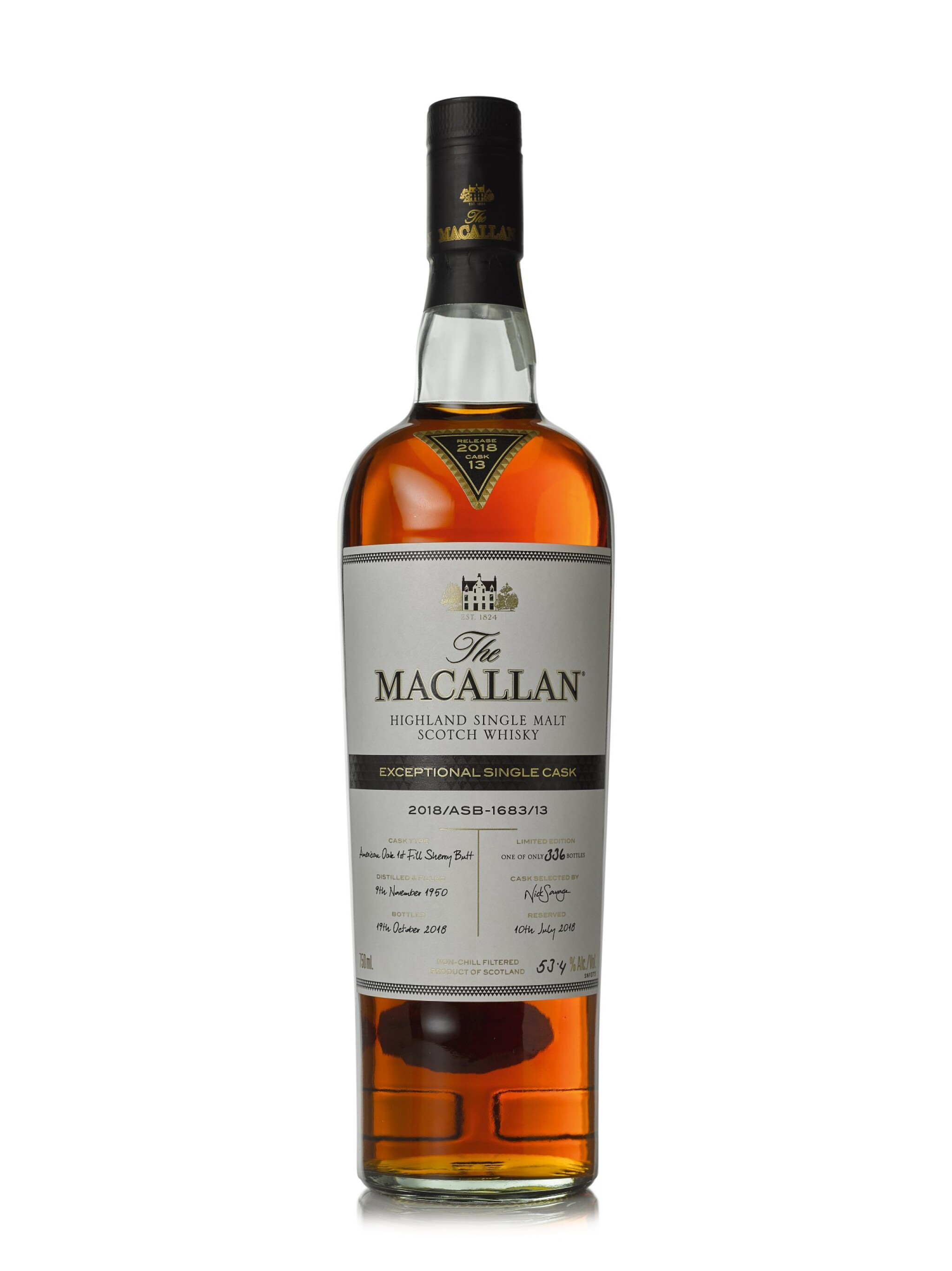 View full screen - View 1 of Lot 34. The Macallan 67 Year Old Exceptional Single Cask 2018/ASB - 1683/13, 53.4% abv 1950 (1 BT75cl).