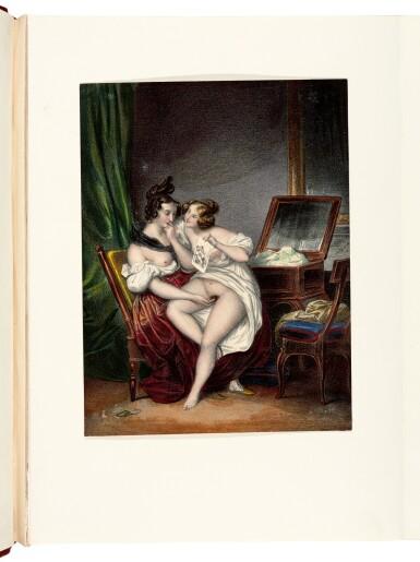 View 1. Thumbnail of Lot 155. Romantisme secret, an album of erotic prints, [Paris, 1840s-1850s], half red morocco.