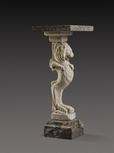 View 2. Thumbnail of Lot 112. A Marble Trapezophoros, probably after the antique.