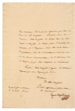 BEAUHARNAIS | letter signed, to Queen Caroline Murat, about the Neapolitan troops requested by Napoleon, 1813