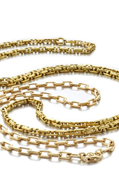 View 2. Thumbnail of Lot 1195. Two gold chains.