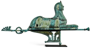 View 1. Thumbnail of Lot 1495. VERY FINE AND RARE MOLDED SHEET-COPPER SWELLED-BODIED SPHINX WEATHERVANE, J.L. MOTT IRON WORKS, NEW YORK AND CHICAGO, CIRCA 1892.