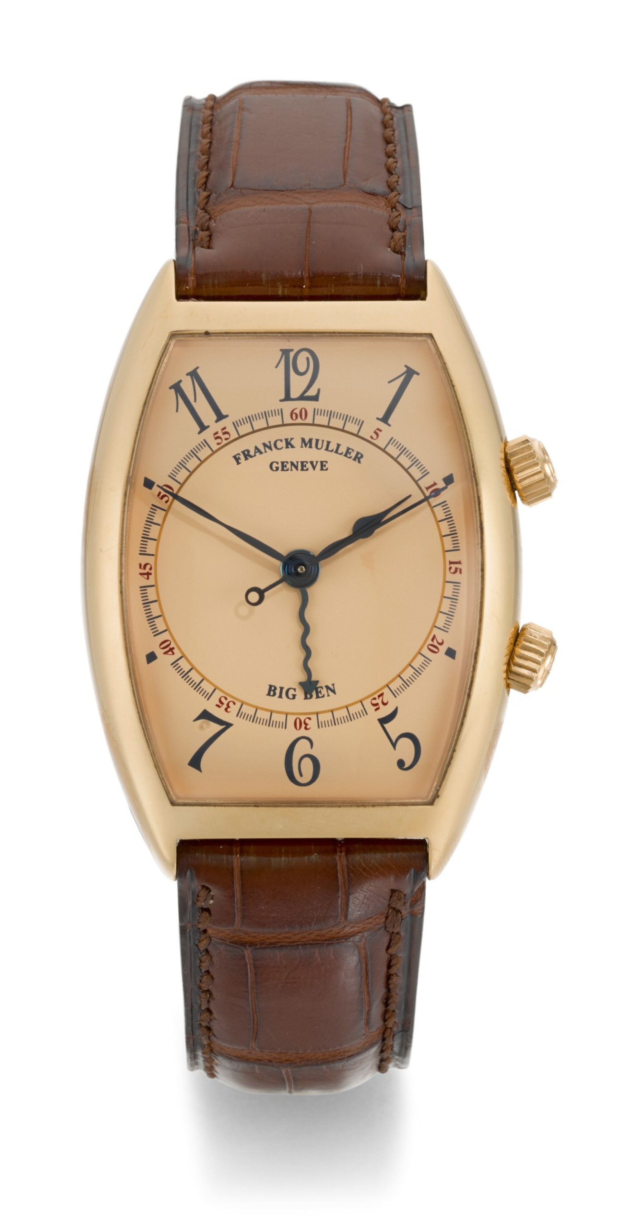 FRANCK MULLER | CURVEX BIG BEN, REFERENCE 5850 AL, PINK GOLD TONNEAU-SHAPED ALARM WRISTWATCH, CIRCA 2000