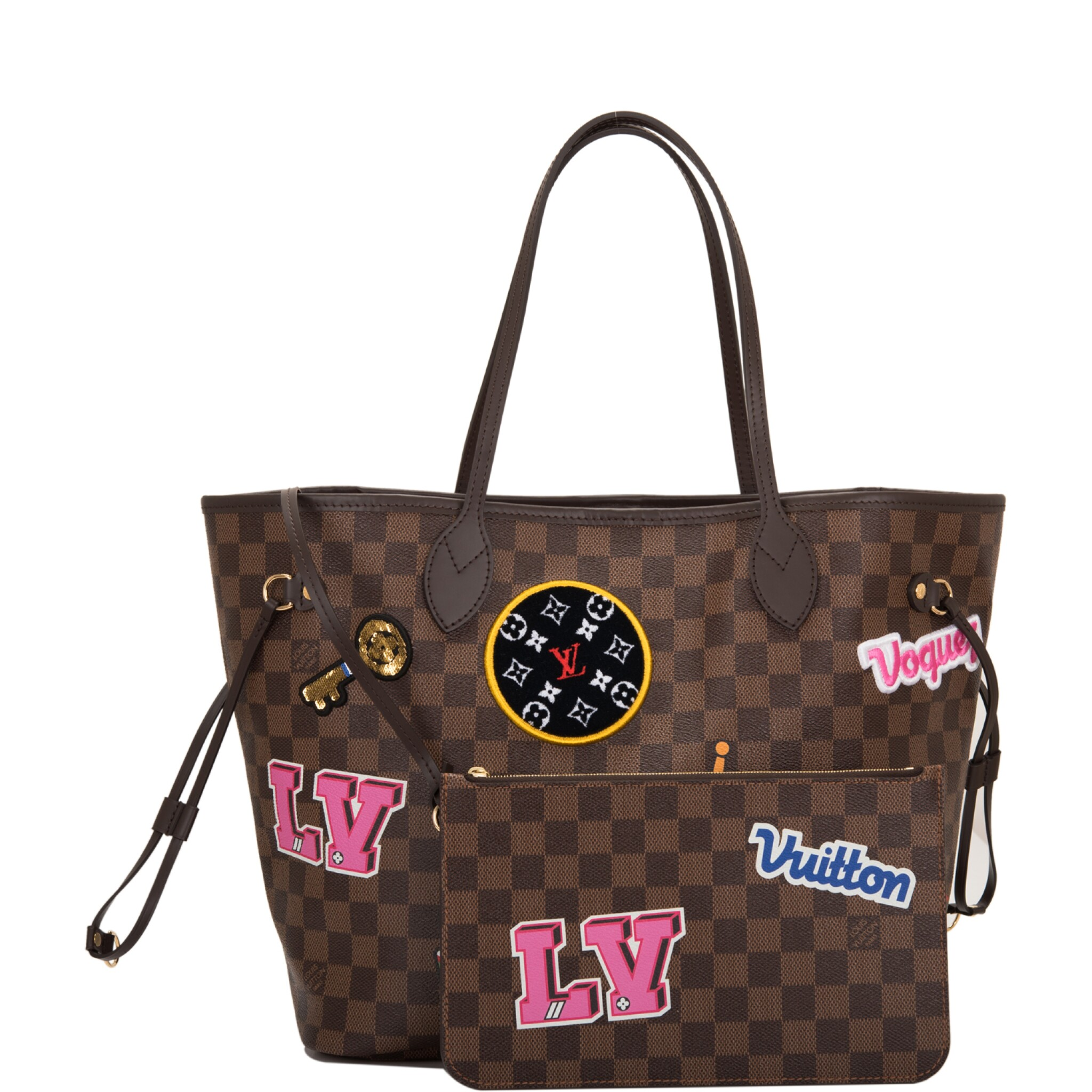 View full screen - View 1 of Lot 86. Louis Vuitton Patches Neverfull MM of Damier Ebene Canvas with Polished Brass.