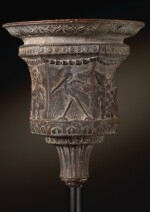 A ROMAN BRONZE CANDELABRUM BOWL DECORATED WITH THE BATTLE OF THE PYGMIES AND THE CRANES, CIRCA 1ST CENTURY A.D.