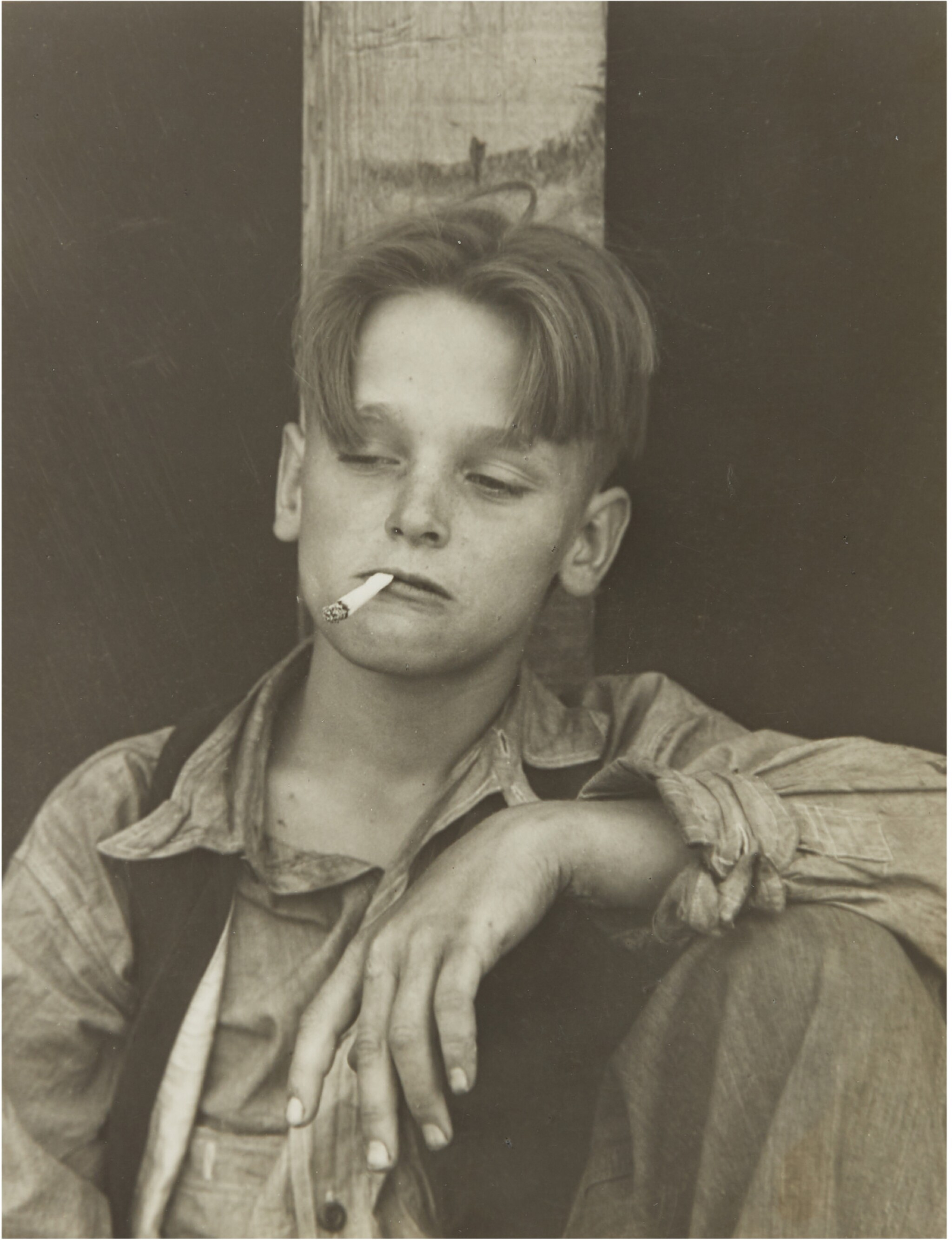 View full screen - View 1 of Lot 67. DOROTHEA LANGE   'ONE OF THE HOMELESS WANDERING BOYS DRIFTING IN THE COUNTRY BEFORE CCC'.